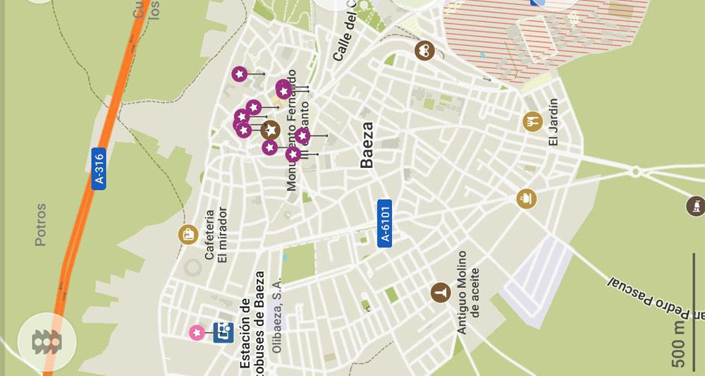 Карта достопримечательностей Баэсы с метками