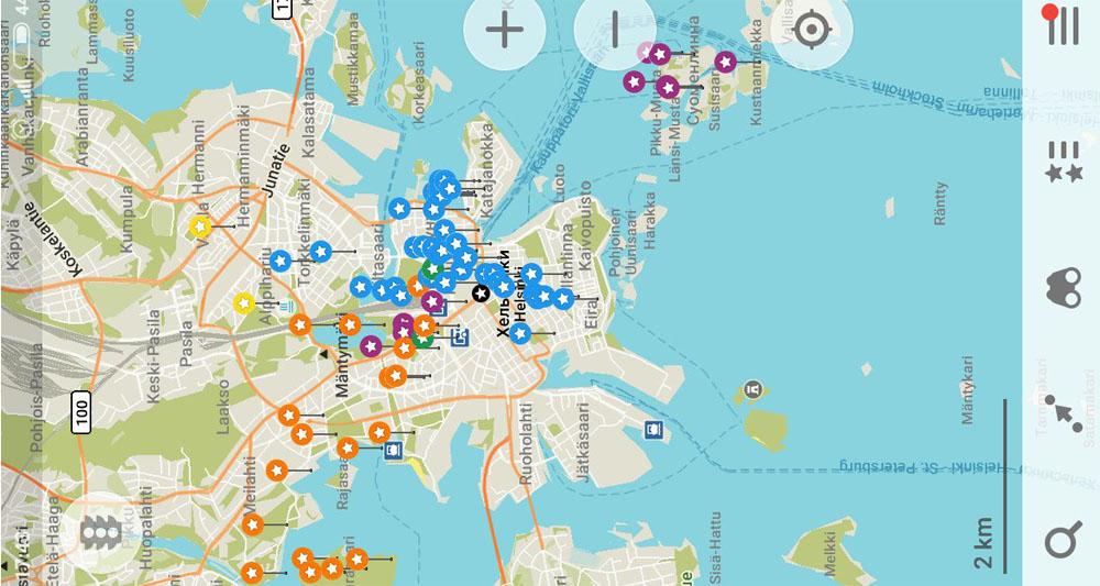 Метки достопримечательностей на карте Хельсинки